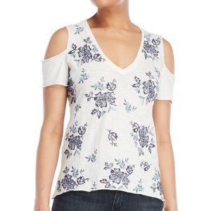 Lucky Brand White Floral Cold Shoulder Tee